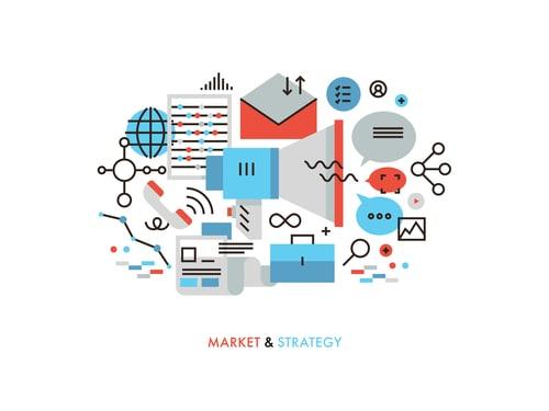 Traditional marketing vs digital marketing illustration
