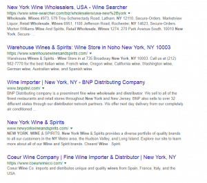 Wine supplier SEO