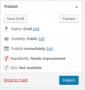 WordPress publish post